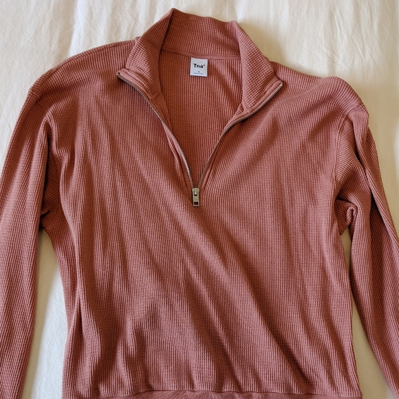 Aritzia TNA Canal Waffle Thermal in Dusty Coral